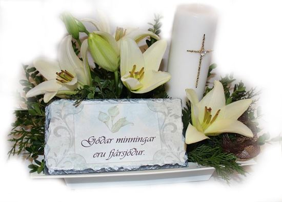 Picture of Special sympathy flower arrangement with candle and printed tile.