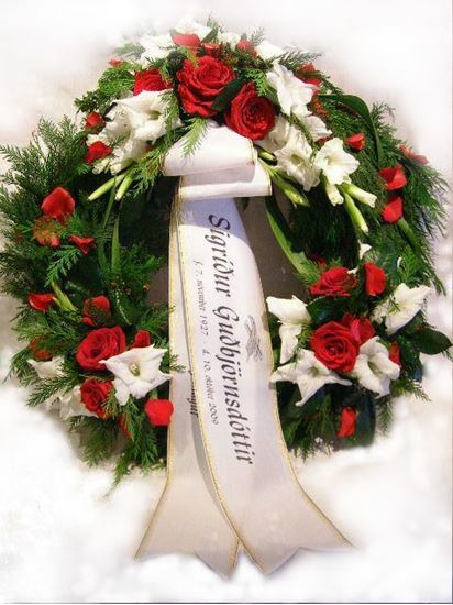 Picture of Funeral Wreath with three decorations including white gladiolus, red roses and greenery-3 sizes.