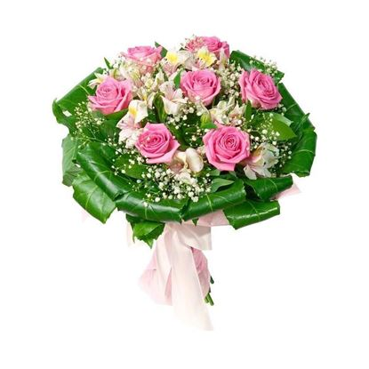 Picture of Mixed flower bouquet with short stemmed pink roses, alstroemeria, and more.