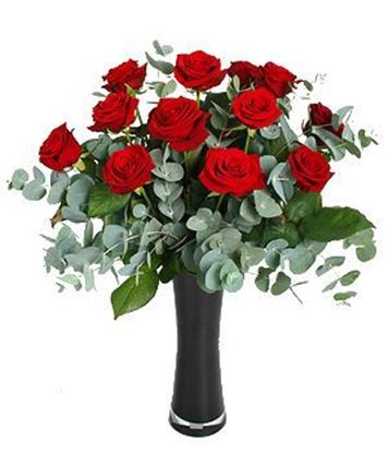 Picture of Red long stemmed rose bouquet with eucalypthus baby blue and greenery.