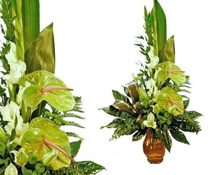 Picture of Tropical modern and long lasting bouquet with Anthurium in green colours