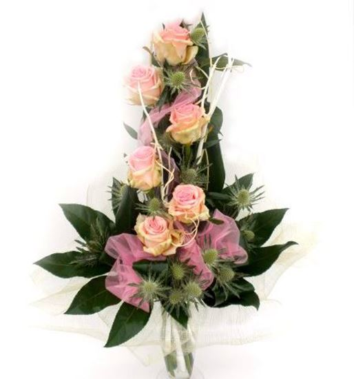 Picture of Romantic high spiral bouquet with pink roses, aralia, aspidistra and more..