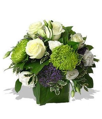 Picture of Modern and elegant  white-green flower arrangement in vase.