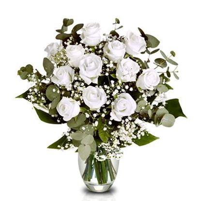 Picture of Classical white bouquet with short stemmed roses, eucalyptus and more.
