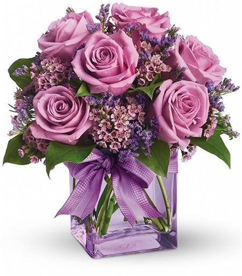 Picture of An Eye-popping fuchsia rose arrangement in a   clear vase (included).