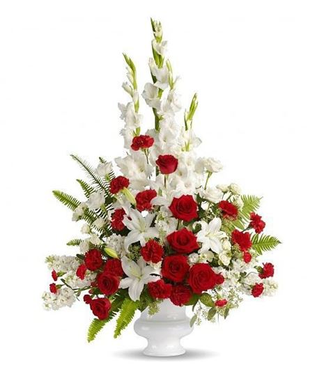 Classic Display Of White And Red Flower Arrangement In A White Vase