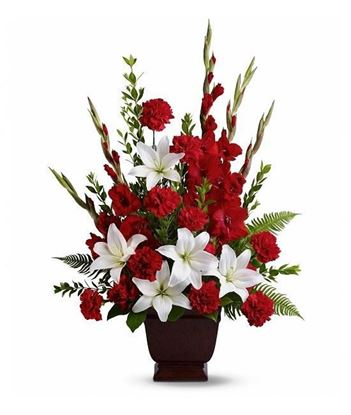 Picture of A classic display of white and red flower arrangement in a white vase
