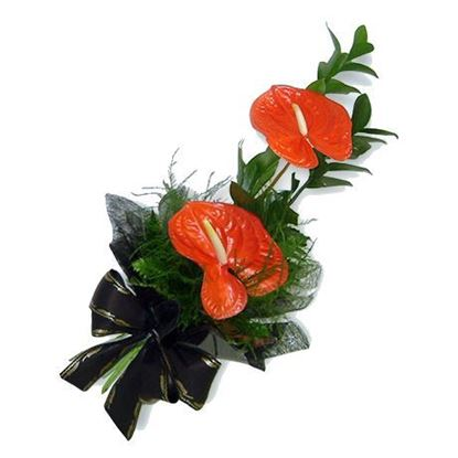 Picture of Long lasting red tropical Anthuria flower bouquet with greenery.