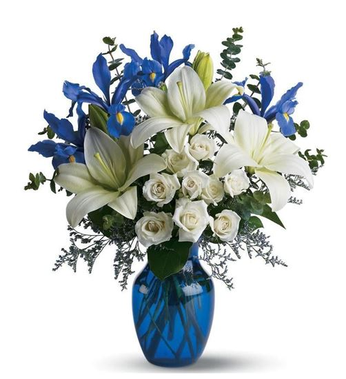 Picture of Sophisticated Blue and White flower mixed bouquet with white lilies, roses.