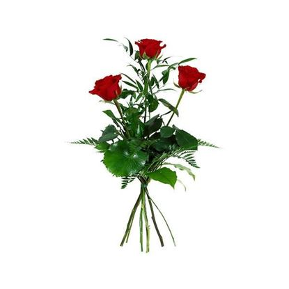 Picture of Premium long stemmed roses tastefully arranged with lush greenery.