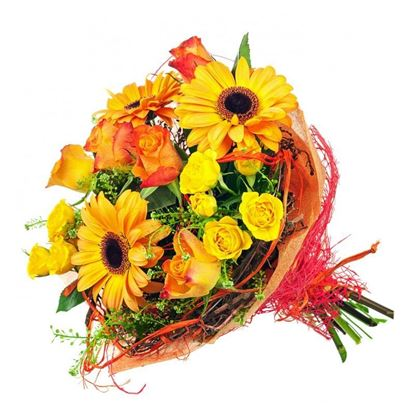 Picture of Sunset coloured combination of orange gerbera, roses and more.