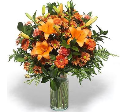 Picture of Sunrise colored bouquet with orange lilies, chrysanthenum and more.
