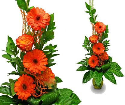 Picture of Very elegant  mixed bouquet with orange gerbera, roses and greenery.