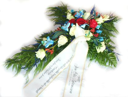 Picture of Beautifuly decorated Funeral Cross with white and red roses, blue flowers and more-70cm.