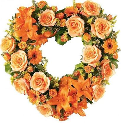Picture of Bright and Stunning Open Funeral heart with orange lilies, roses, germini and more- 2 sizes.