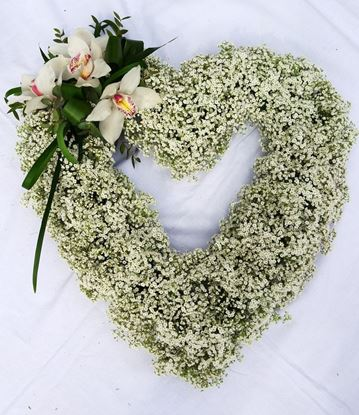 Picture of Beautiful open Funeral heart arrangement with white baby's breath and other flowers-2 sizes.