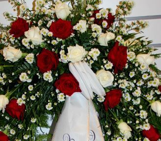 Funeral Wreath with one decoration with white and red roses, white aster  and more,3 sizes.