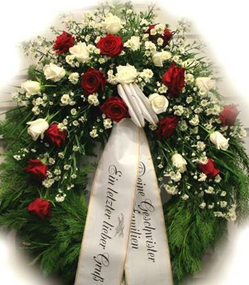 Picture of Funeral Wreath with one decoration with white and red roses, white aster and more-3 sizes.