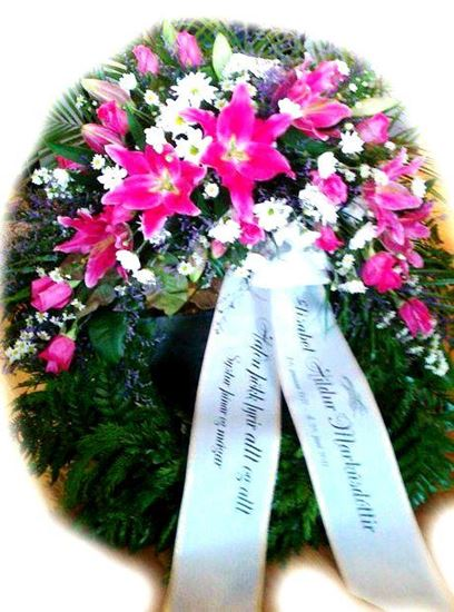 Picture of Funeral Wreath with one decoration with pink oriental lilies, roses, white aster and more-3 sizes.