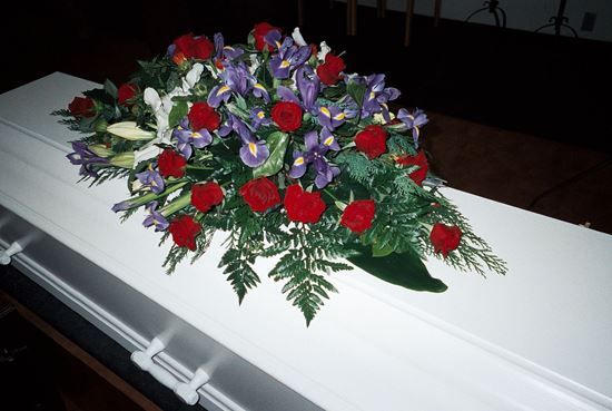 Picture of Beautiful casket spray with Blue Iris, Red roses, White lilies and more. 3 sizes