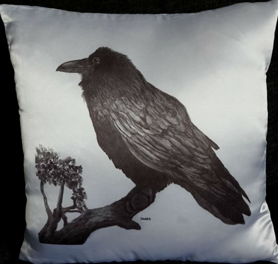 Picture of Decorative Throw Pillow- Black Raven painting
