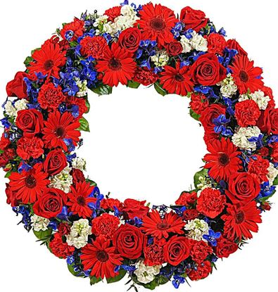Picture of Fully decorated Funeral Wreath with red, blue and white flowers-3 sizes available.
