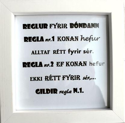 Mynd Fallegir textar í römmum - Reglur fyrir bónda