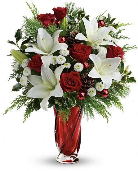 Christmassy memorable red rose white oriental lily
