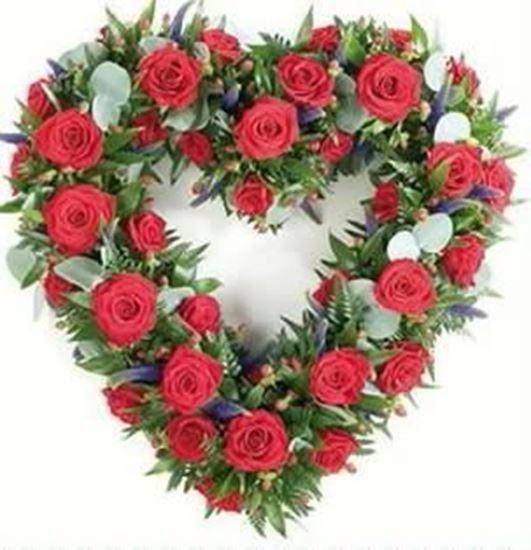 Picture of Funeral Heart-open with red roses