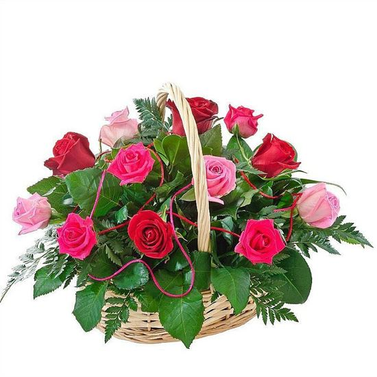 Picture of Beautiful basket of light pink & dark pink roses finished with greenery.