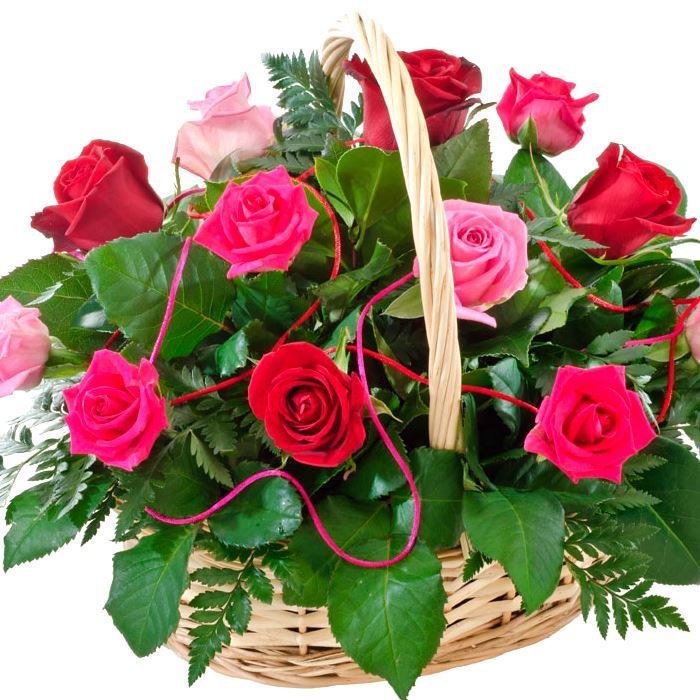 Beautiful basket of light pink dark pink roses finished with picture of beautiful basket of light pink dark pink roses finished with greenery mightylinksfo