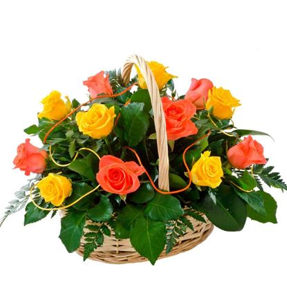 Picture of Beautiful basket of light orange & dark orange roses finished with greenery.