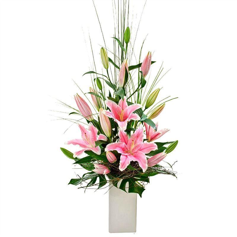 Modern Oriental Lily Flower Arrangement In High Vase With