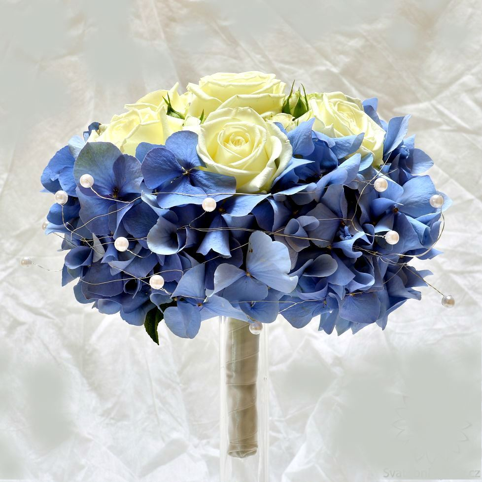 Blue Hydrangea Wedding Flowers: Wedding Bridal Bouquet With Blue Hydrangea And Cream Or