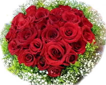 Picture of Very romantic bouquet in the shape of heart-red roses and gypsophilia.