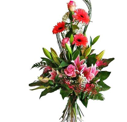Picture of Absolutely stunning spiral bouquet with long pink roses, gerbera, lilies ..