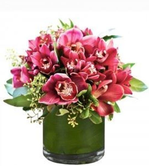 Beautiful flower arrangement with pink red cymbidium orchid and more beautiful flower arrangement with pink red cymbidium orchid and more in a vase included mightylinksfo Gallery