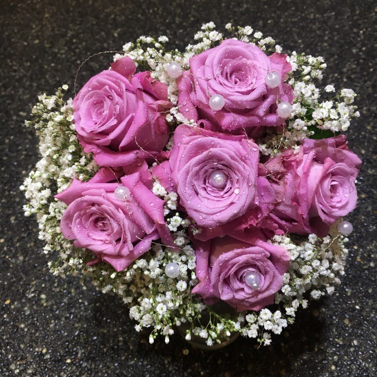 Wedding bouquet with pink roses, baby breath, silver wire and pearls ...