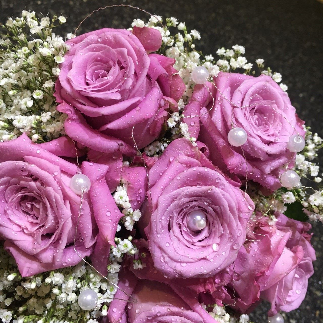 Wedding Bouquet With Pink Roses Baby Breath Silver Wire And Pearls