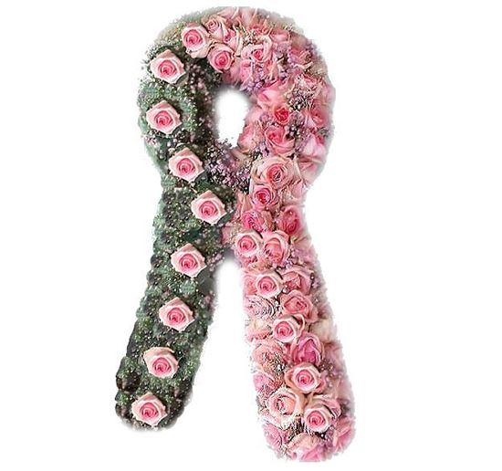 Picture of Breast Cancer Ribbon Casket spray with pink roses and eucalyptus-90 cm.