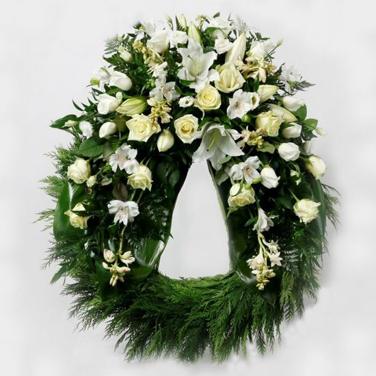 Picture of Funeral Wreath with one decoration with white oriental lilies, cream white roses and more-3 sizes.