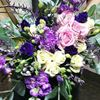 Picture of Breezy Boho style  bouquet with roses, eustoma, lefkoj, eucalypthus ...