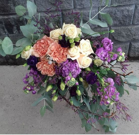 Picture of Boho style  bouquet with roses, carnations, eustoma, lefkoj, eucalypthus ...