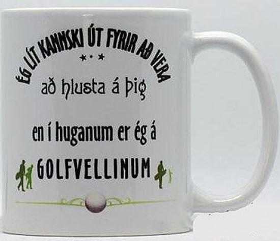 Mynd Hvítur bolli með texta fyrir gólfara.