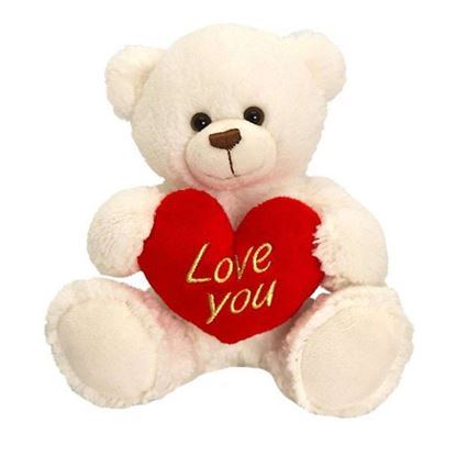 Picture of White teddy bear holding heart with I love you text-25 cm.