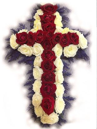 Picture of Fully decorated Funeral tribute Cross in a theme of Icelandic national flag -2 sizes.