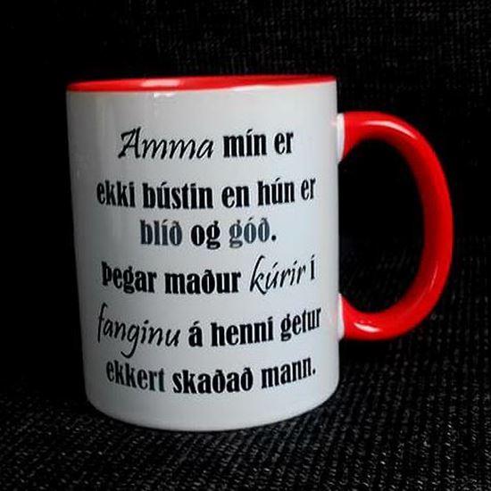 Mynd Bolli með mömmutexta fyrir mæðradaginn.