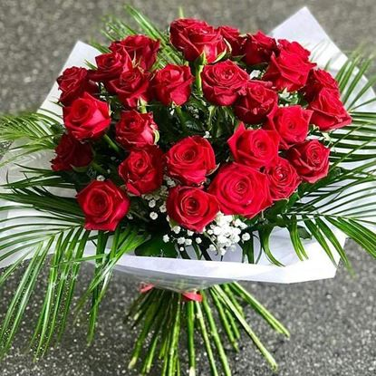 Picture of Timeless premium red roses bouquet with matching greenery.