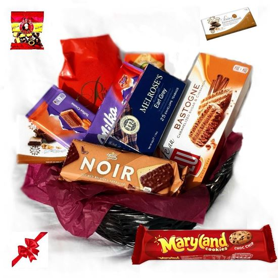 Picture of Giftbasket is vonderful gift for everybody who likes sweets, tea and coffee.