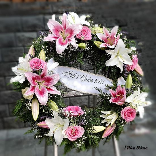 Picture of Fully decorated Funeral Wreath with oriental lilies, roses and much more-3 sizes available.